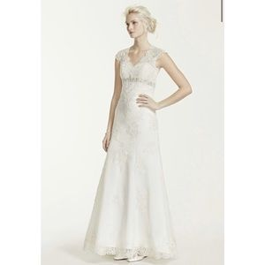 Cap Sleeve Lace Over Satin Illusion wedding Gown